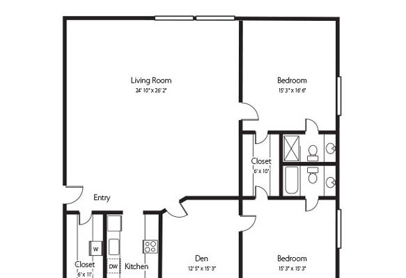 The Hunter, a two bedroom and den and two bathroom senior apartment at Hamlet at Chagrin Falls