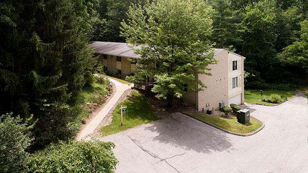 Aerial view of Hamlet at Chagrin Falls senior apartments.