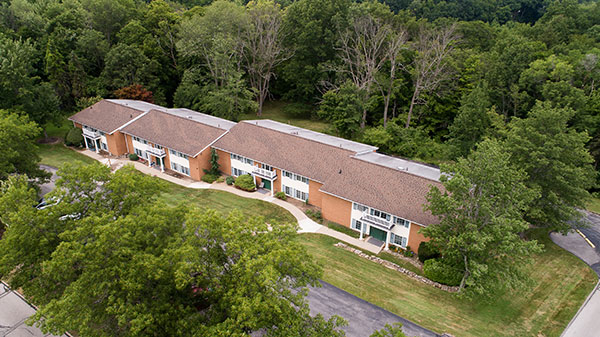 Aerial view of Hamlet at Chagrin Falls senior apartments.