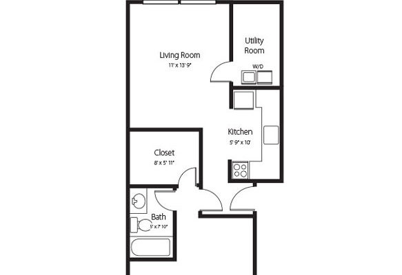 The Conway, a one bedroom one bath senior apartment at Hamlet at Chagrin Falls