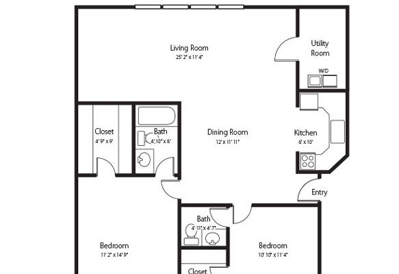 Henry, a two bedroom and one and half bath senior apartment at Hamlet at Chagrin Falls