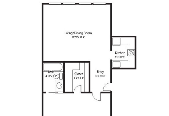 The Bradley a one bedroom one bath senior apartment at Hamlet at Chagrin Falls