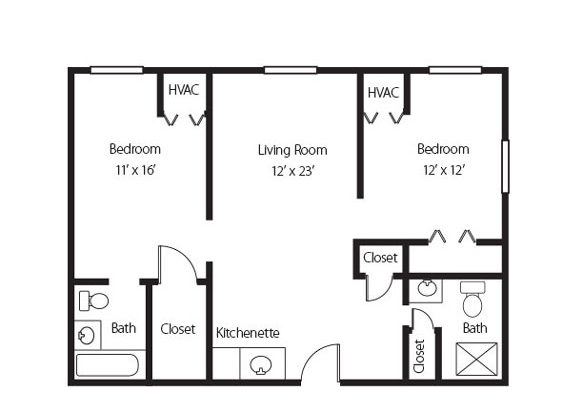 The Harper, the two bedroom two bath apartment in Hamlet at Chagrin Falls