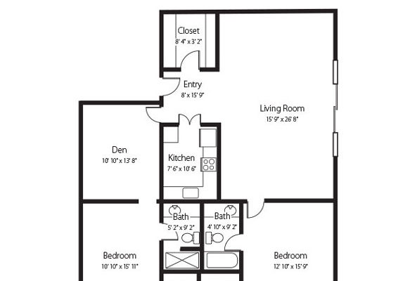 The Millstream, two bedroom and den and two bath senior apartment at Hamlet at Chagrin Falls