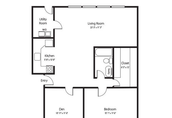The Windsor, two bedroom one bath senior apartment at Hamlet at Chagrin Falls