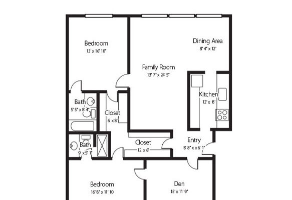 The Settler two bedroom and den and two bath senior apartment at Hamlet at Chagrin Falls