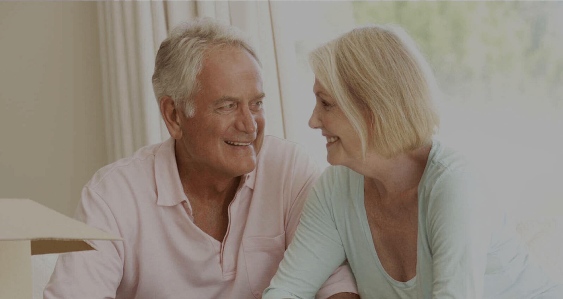 A senior couple downsize to a senior living community