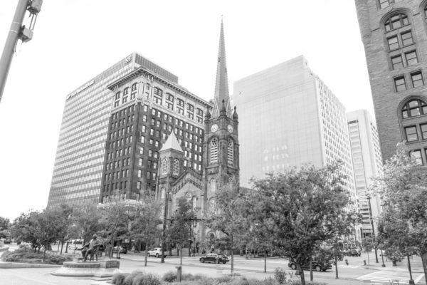 Old Stone Church at Public Square 1858