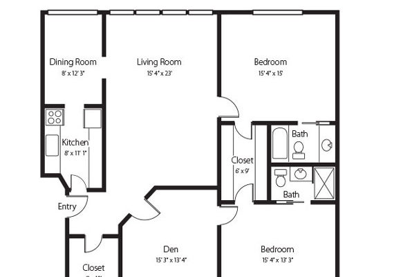 Millstream A two bedroom and den and two bath senior apartment at Hamlet at Chagrin Falls