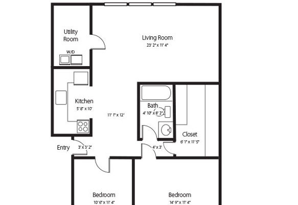 The Rivergate two bedroom two bath senior apartment at Hamlet at Chagrin Falls