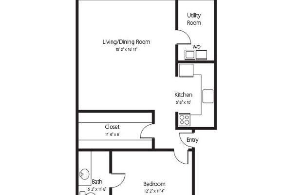 The Bedford, a one bedroom one bath senior apartment at Hamlet at Chagrin Falls
