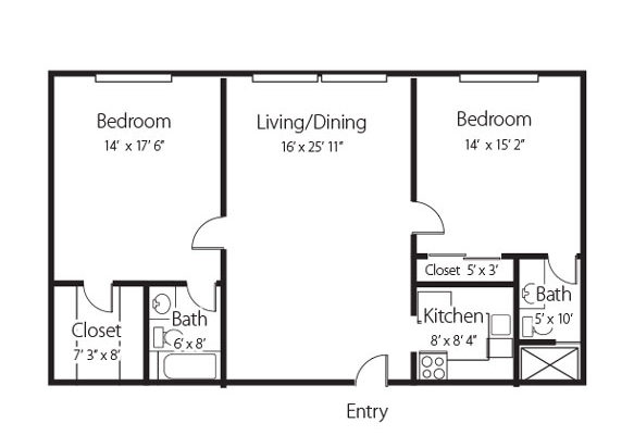 The Brookside, a two bedroom two bath senior apartment at Hamlet at Chagrin Falls