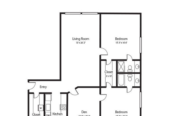 The Whitesburg, a two bedroom and den and two bath senior apartment at Hamlet at Chagrin Falls