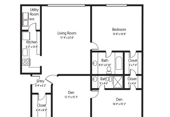 Millstream B two bedroom and den and two bath senior apartment at Hamlet at Chagrin Falls