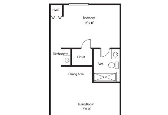 The Hawthorn one bedroom one bath senior apartment at Hamlet at Chagrin Falls