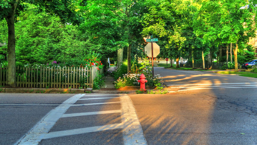A photo of a crosswalk at a street of charming homes in the small town of Chagrin Falls